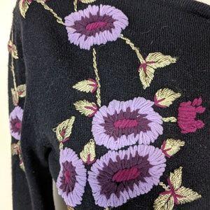 Bisou Bisou Sweaters - Bisou Bisou Retro Embroidered Cardigan